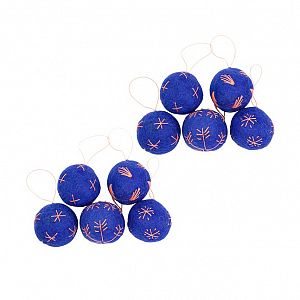 Embroidered Balls - Indigo