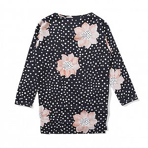 Missie Munster Soni Flower Fleece Dress - Blk Floral