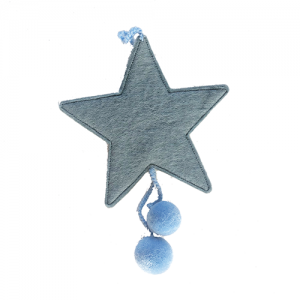 Muskhane Felt star with Pom Poms Mid Blue