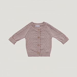 Jamie Kay - Cotton Knit Cable Cardi  - Rose Smoke