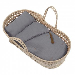 Numero 74 Doll Basket Bed Linen - Stone Grey