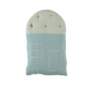Camomile London Small House Cushion - Lt Teal/Mint