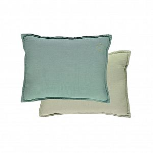 Camomile London Reversible Rectangular Cushion - Lt Teal/Mint