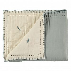 Camomile London Reversible Embroidered Quilt - Powder Blue/Stone