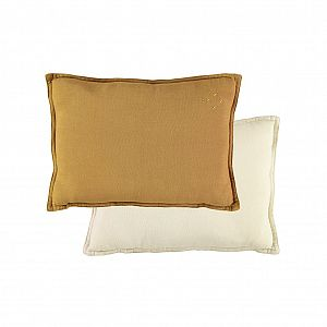 Camomile London Padded Rectangle Cushion - Ochre/Champagne