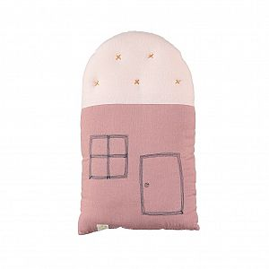 Camomile London Small House Cushion - Blush/Pearl Pink