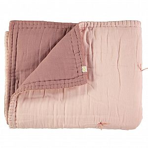 Camomile London Reversible Embroidered Quilt - Blush/Pearl Pink