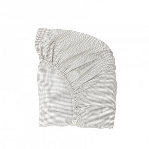 Camomile London Organic Fitted Sheet - Double Check Ivory Grey