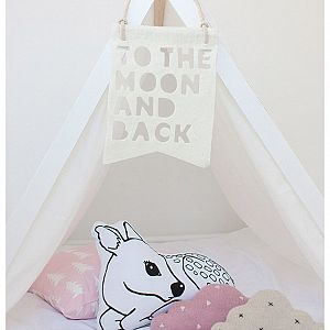 To the Moon and Back Wool Felt Banner - White